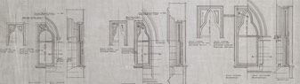 Architectural drawing showing details of Centre Block features, including windows, doors and stairs, no date