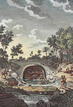 Print of an imaginary scene of beaver-hunting in Canada, circa 1782