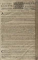 Issue of the QUEBEC GAZETTE, June 21, 1764