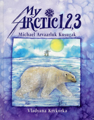 Book cover with an illustration of a polar bear walking in the foreground; in the background, a bird flying in the sky and an inukshuk visible on the horizon, under the sun