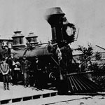 Photograph of the first train to travel from the Atlantic to the Pacific, stopped at Port Arthur station