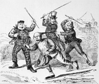 Cartoon depicting Chinese man trying to escape three Caucasian men holding raised canes, while being held by his pigtail