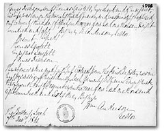 Baptismal certificate of James Dickson, son of Thomas Sawtell. 23 April 1840. Library and Archives Canada, MG 8 F89, vol. 8, p. 4546-4547, reel C-14034