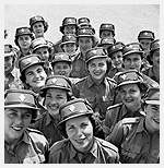 Photograph of personnel of the Canadian Women�s Army Corps at No. 3 CWAC (Basic) Training Centre, Kitchener, Ontario, April 6, 1944. Photographer unknown.