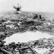 Tank in badly shelled mud area, Battle of Passchendaele