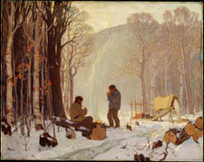 Oil painting of two men in forest in winter, warming themselves by fire, with horse and felled trees, 1900-1942