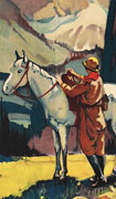 Colour poster with illustration of a person saddling a horse. A snow-capped mountain is in the background. Title of the company at top, additional information at bottom