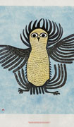 Colour art poster depicting a young owl in mid-flight