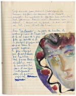 Page from Blais' notebook X, 1967, with handwritten text and original artwork, [page 6]