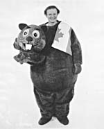 Photograph of Walt Grealis in a beaver costume