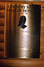 Photograph of Stan Klees plaque, Country Music Hall of Fame