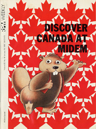 Image of a magazine cover featuring a cartoon beaver on a background of red maple leaves