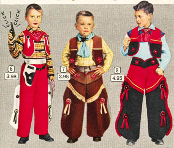 Photograph of boys in cowboy suits, Eaton's Christmas Book 1956 catalogue