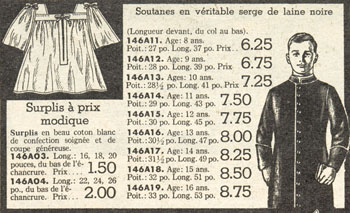 Advertisement for cassocks and surplices, Dupuis Frères - Automne et hiver 1945-1946 catalogue