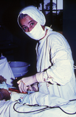 Photograph of Dr. Lucille Teasdale performing surgery