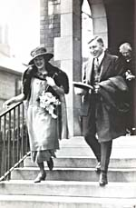 Photograph of Dr. Federick Banting and his wife Marion Roberston Banting on wedding day, June 4, 1924