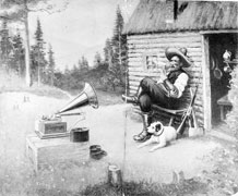 Print advertisement for Berliner Gram-o-phone Co. Ltd., featuring an old man seated outside his cabin, listening to a gramophone, 1914