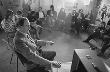 Photograph of Marshall McLuhan and his students during a seminar, April 15, 1973, by Robert Lansdale