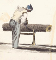 Watercolour of man sawing tree trunk, which is lying on a sawhorse