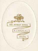 Photograph of the Notman Studio stamp, W.J. Topley, Proprietor. Printed on the reverse side of a card with a published  photograph, Ottawa, before 18755
