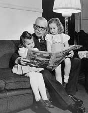 Prime Minister Louis St. Laurent with his grandchildren, 1948.